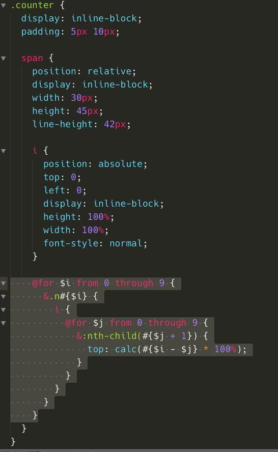 接著改變一下 HTML,將每個 span 加上 n5 的 class,並且修改 scss,將原本的 for 迴圈移除,改在 span 設定,使用雙層迴圈,分別針對 n0~n9 去設定 i 的不同位置