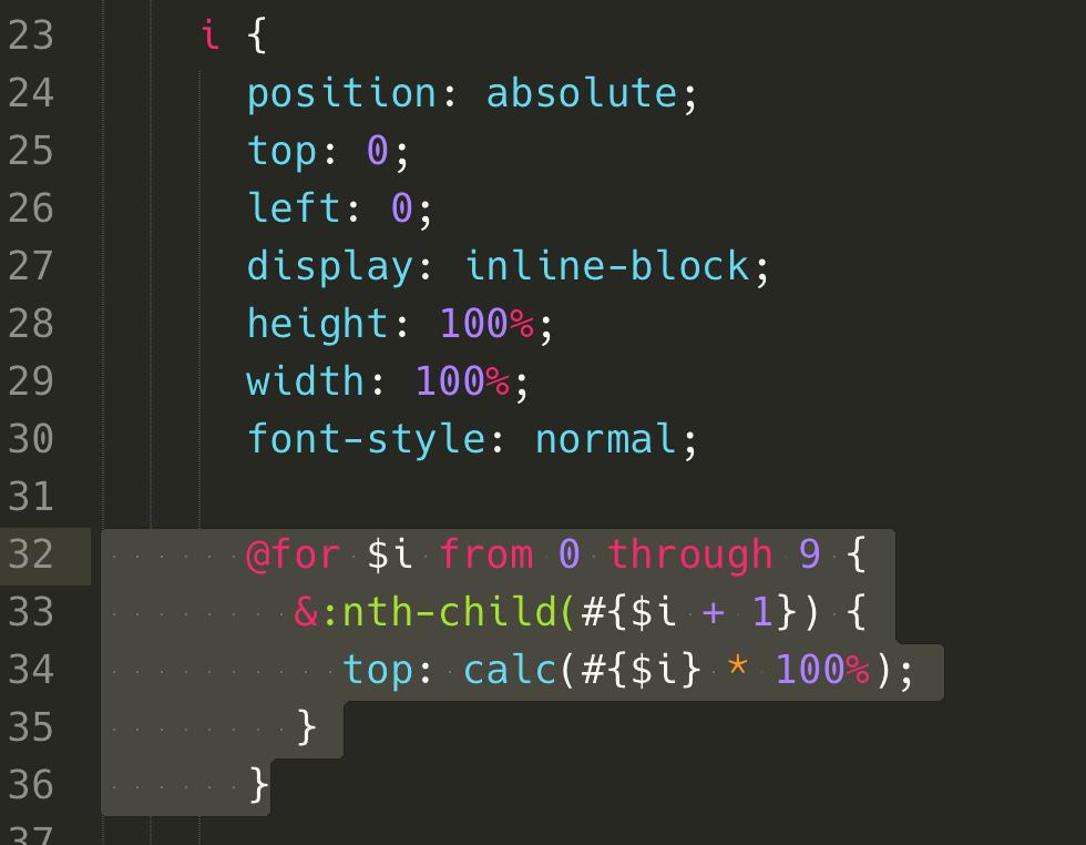 利用 scss 的 for 迴圈,針對 nth-child 設定 top 的位置