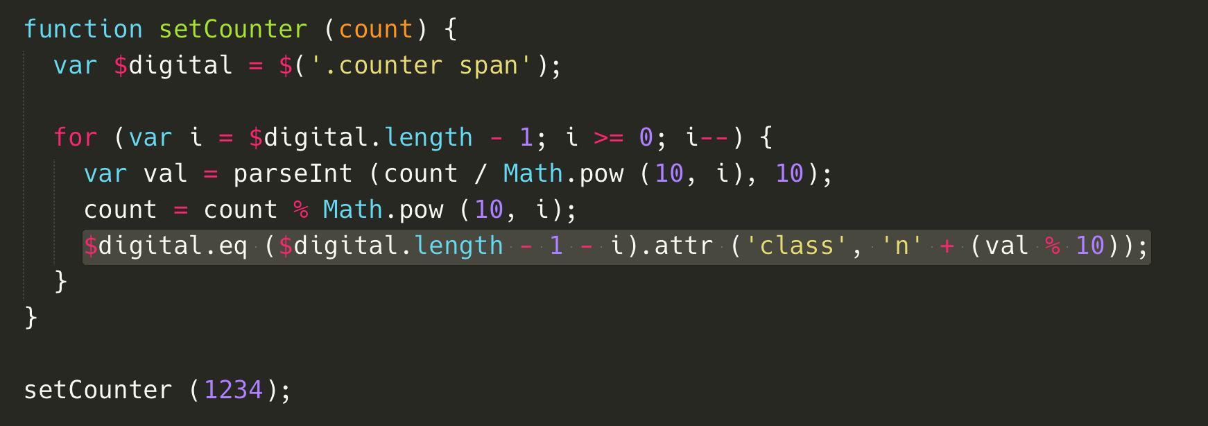 使用 JavaScript 輔助,使用簡單的數學運算(/、%、pow),切割出各個位數,並且利用 jQuery 的 eq 來取得指定的 span