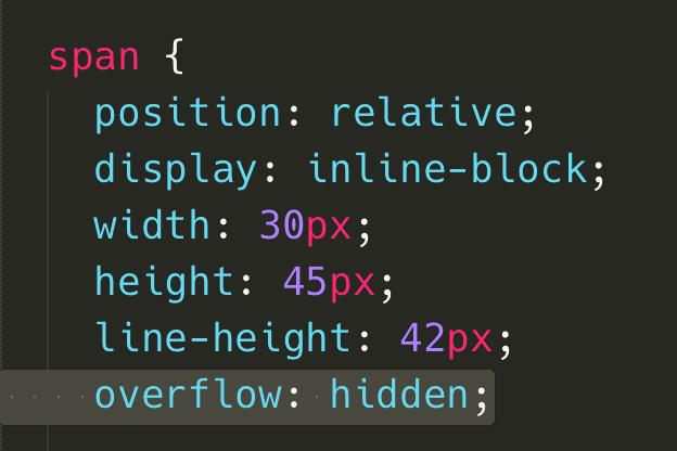 最後在 span 上加入 overflow: hidden;,如此就可以將不再位置內的 i 隱藏囉